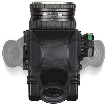 Rollei 45-degree prism finder /mounted on camera body/