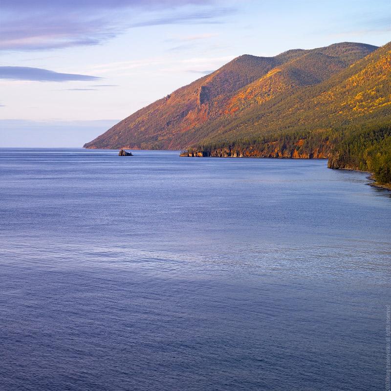 Lake Baikal: View to Primorsky Range & Cormorant Stone Island