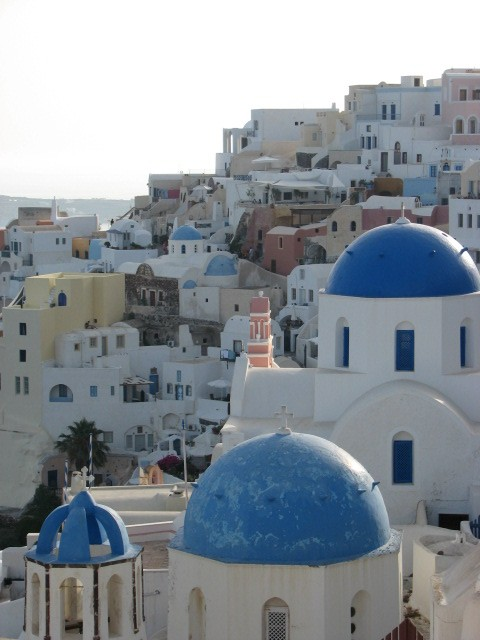 more of Oia and blue-domed churches.