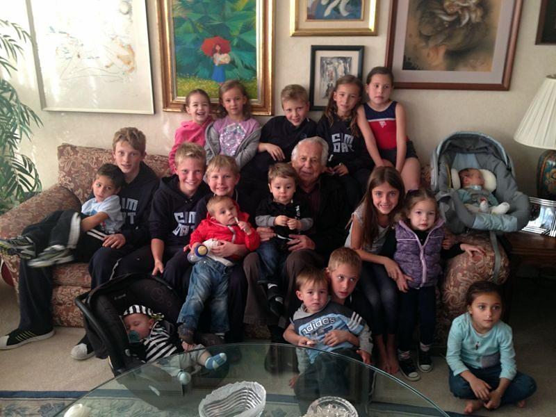 My dad with his 18 great grandchildren!