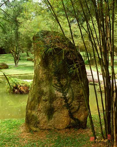 Standing Stone with Fern and Bamboo (19A)