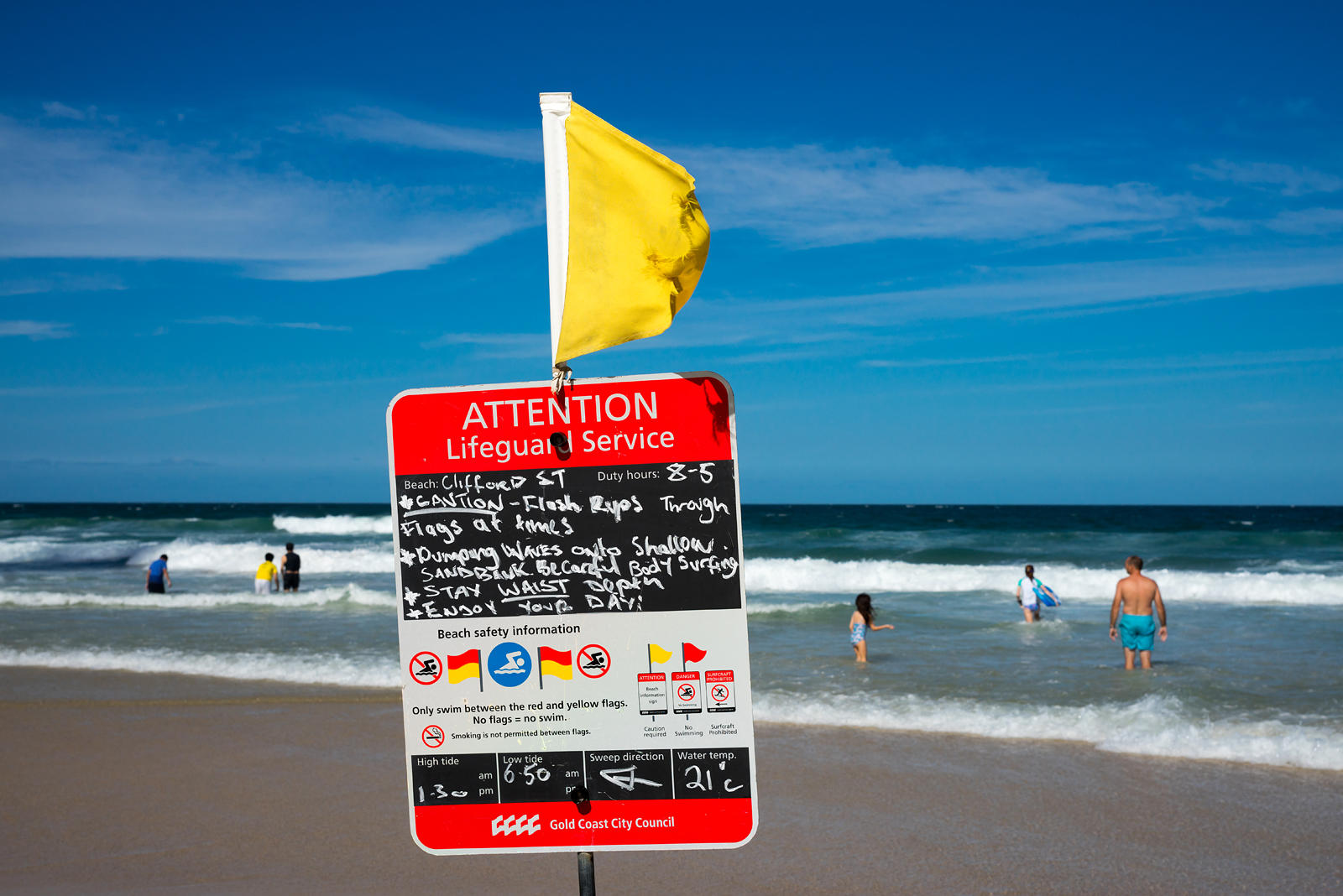 Life guard notice at Surfers paradise, Gold Coast.