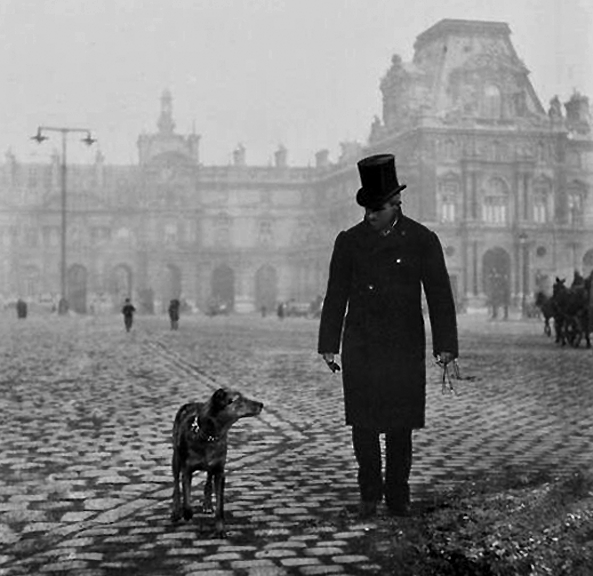 1876 - Walking the dog outside the Louvre