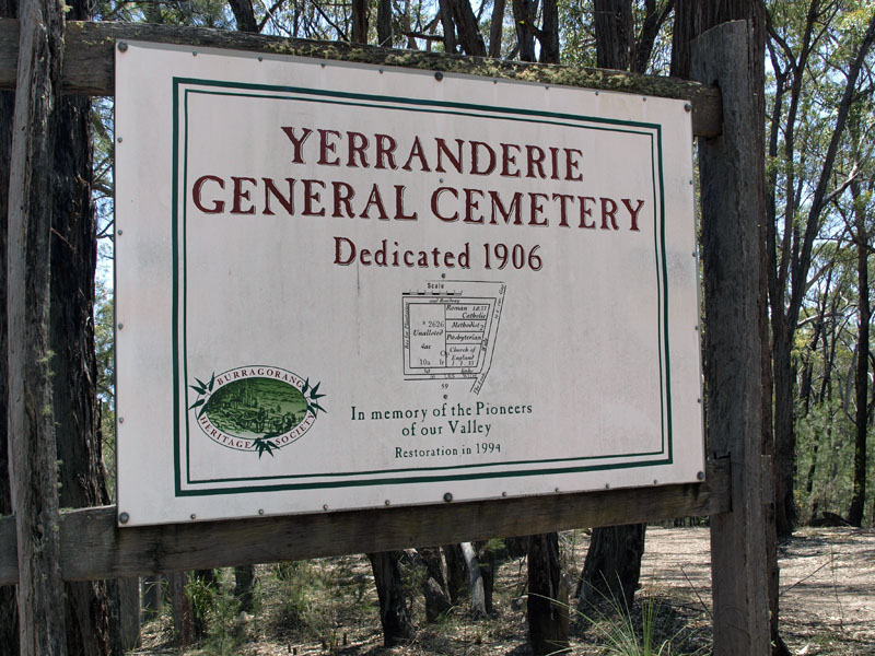 Sign at the old cemetery