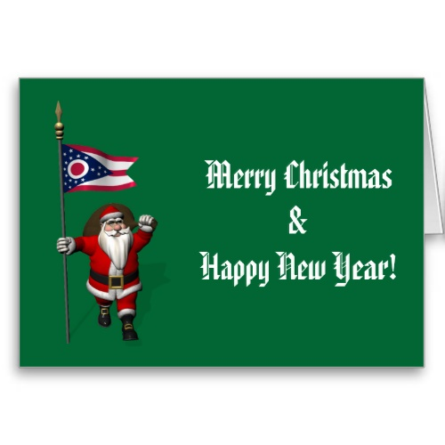 Santa Claus With Flag Banner Ensign Of US State <br />* Ohio