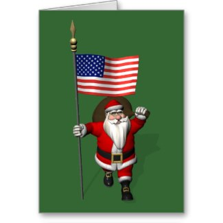 Santa Claus With Star Spangled Banner