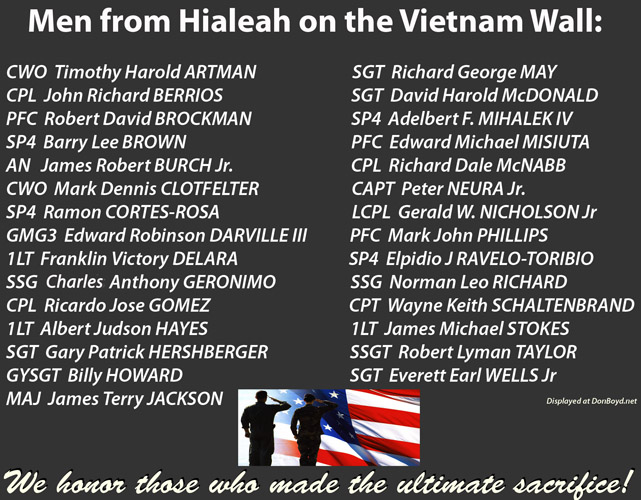 1964 - 1975:  Men from Hialeah on the Vietnam Veterans Memorial  Wall in Washington, D. C. (descriptions below)