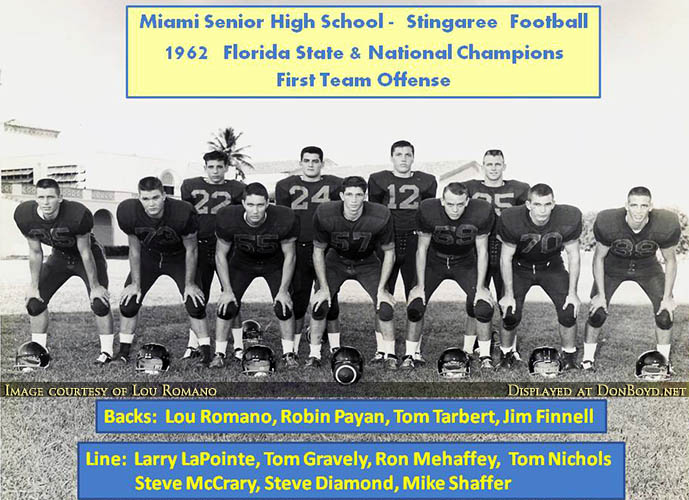 1962 - Miami High School Football National Champs offense