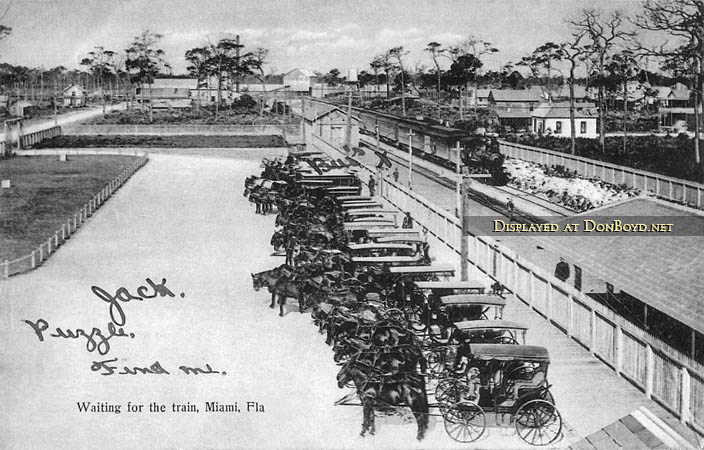 1890s to early 1900s - Miamis first railroad station with horses and carriages waiting to transport passengers