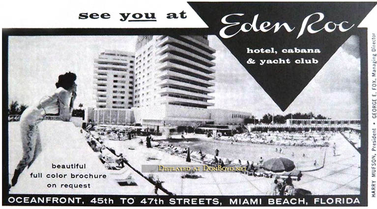 1960 S Newspaper Advertisement For The Eden Roc Hotel On Miami