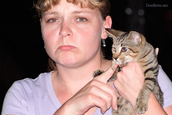 2003 - Karen and a stray cat bitten by a land crab