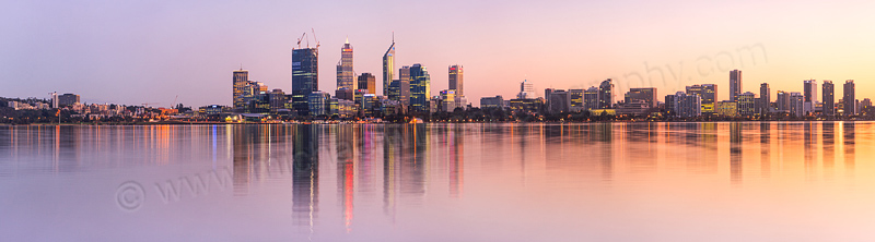 Perth and the Swan River at Sunrise, 10th August 2011