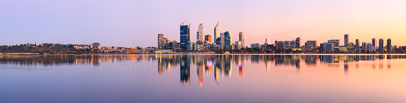 Perth and the Swan River at Sunrise, 29th August 2011