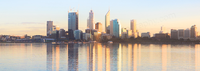 Perth and the Swan River at Sunrise, 4th August 2011