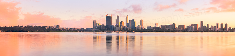 Perth and the Swan River at Sunrise, 7th August 2011