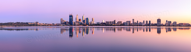 Perth and the Swan River at Sunrise, 11th October 2011
