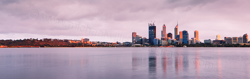 Perth and the Swan River at Sunrise, 12th October 2011