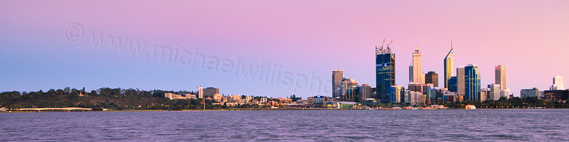 Perth and the Swan River at Sunrise, 13th October 2011