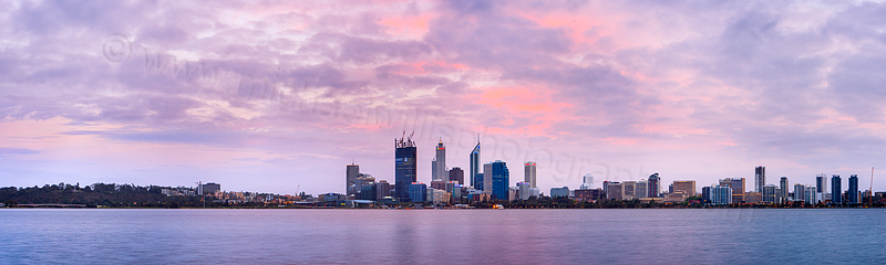 Perth and the Swan River at Sunrise, 17th October 2011