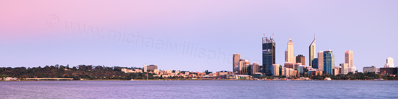 Perth and the Swan River at Sunrise, 31st October 2011