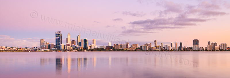 Perth and the Swan River at Sunrise, 18th December 2011