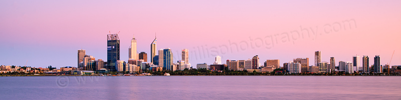 Perth and the Swan River at Sunrise, 20th December 2011