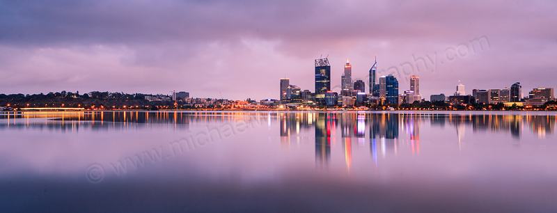 Perth and the Swan River at Sunrise, 31st December 2011