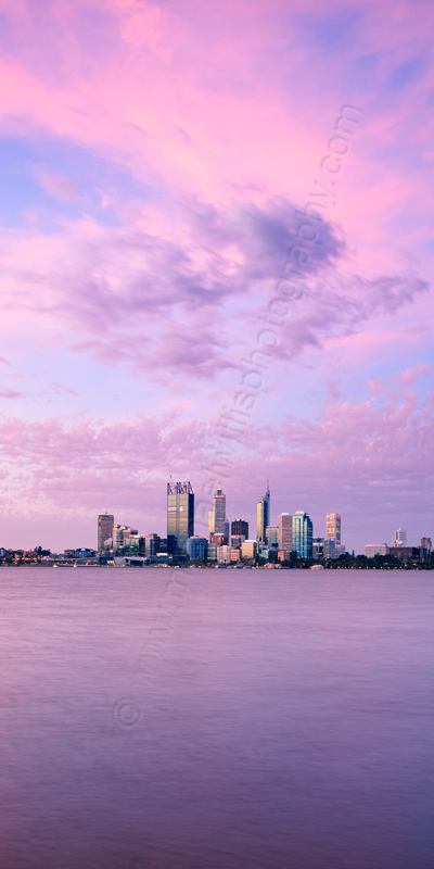Perth and the Swan River at Sunrise, 4th January 2012