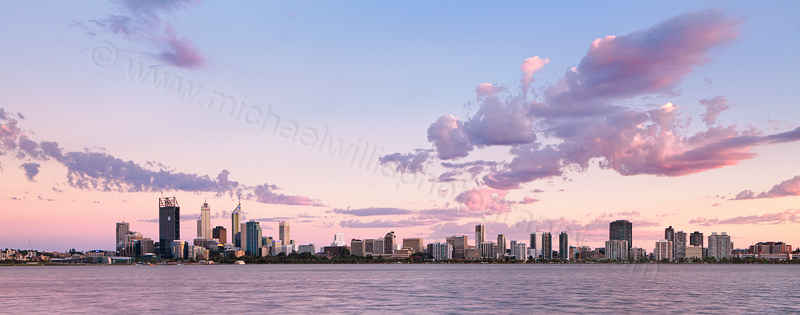 Perth and the Swan River at Sunrise, 25th January 2012