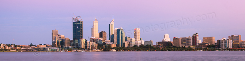 Perth and the Swan River at Sunrise, 26th January 2012