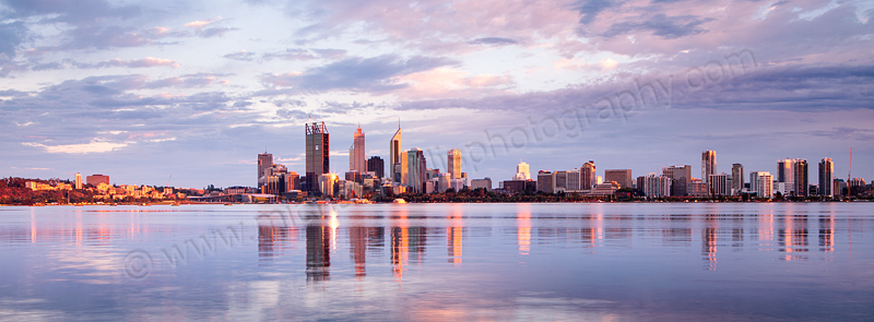Perth and the Swan River at Sunrise, 27th January 2012