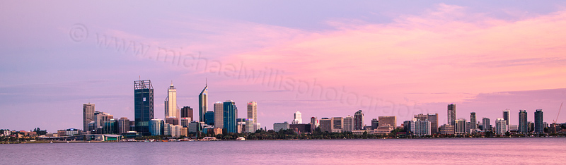 Perth and the Swan River at Sunrise, 29th January 2012