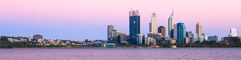 Perth and the Swan River at Sunrise, 31st January 2012