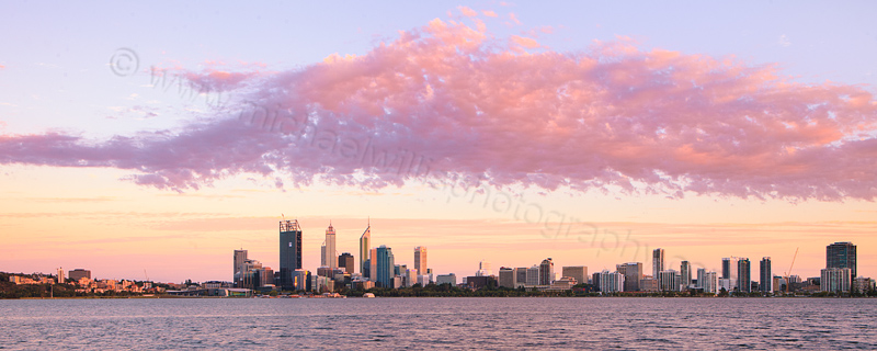 Perth and the Swan River at Sunrise, 1st February 2012