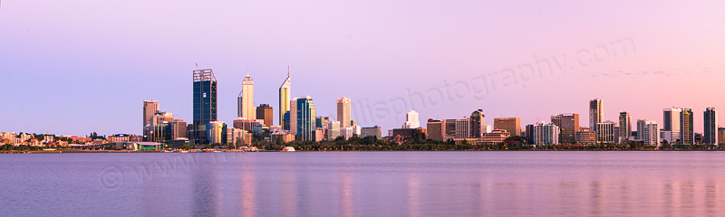 Perth and the Swan River at Sunrise, 7th February 2012