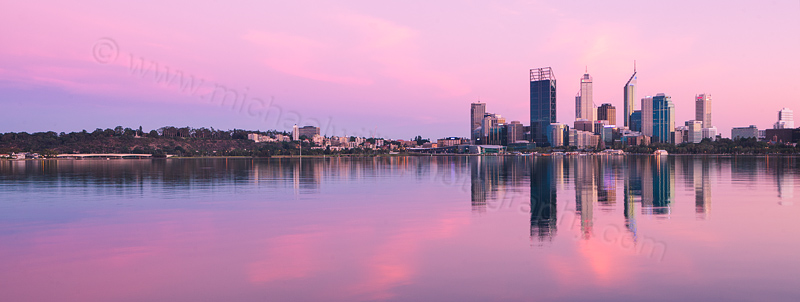 Perth and the Swan River at Sunrise, 12th March 2012