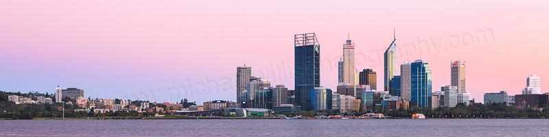Perth and the Swan River at Sunrise, 21st March 2012