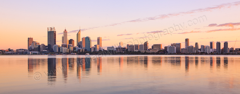 Perth and the Swan River at Sunrise, 26th March 2012