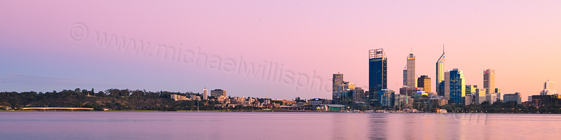 Perth and the Swan River at Sunrise, 26th April 2012