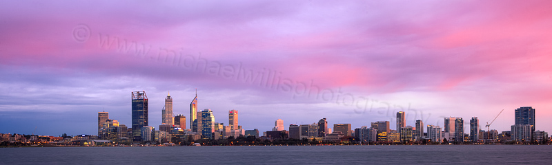 Perth and the Swan River at Sunrise, 6th June 2012