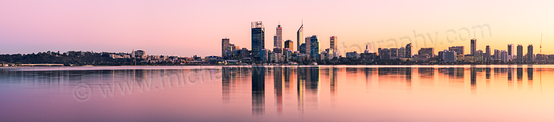 Perth and the Swan River at Sunrise, 21st June 2012