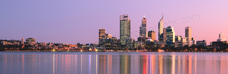 Perth and the Swan River at Sunrise, 10th August 2012