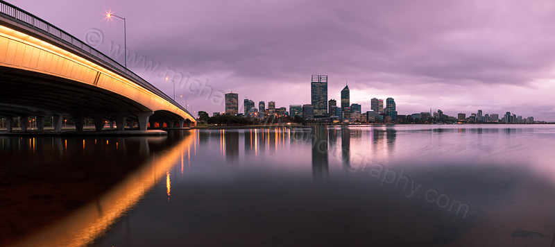 Perth and the Swan River at Sunrise, 14th August 2012