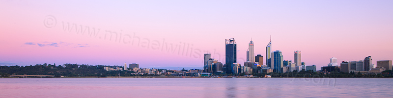Perth and the Swan River at Sunrise, 18th October 2012