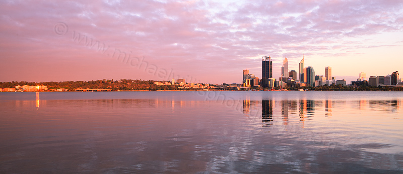 Perth and the Swan River at Sunrise, 1st December 2012