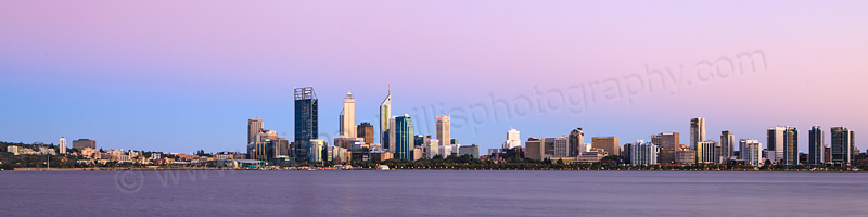 Perth and the Swan River at Sunrise, 18th January 2013