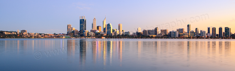 Perth and the Swan River at Sunrise, 2nd April 2013