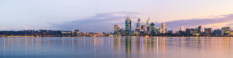 Perth and the Swan River at Sunrise, 5th June 2013