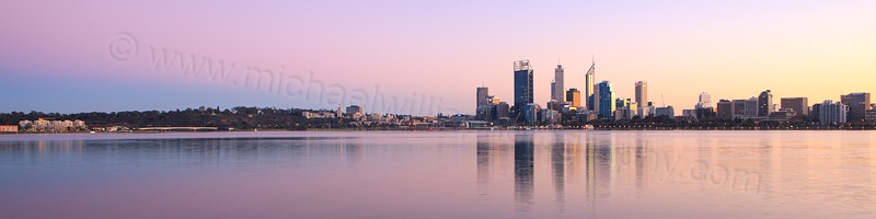 Perth and the Swan River at Sunrise, 7th July 2013