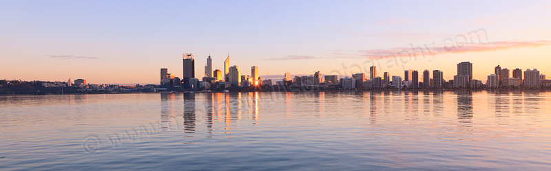Perth and the Swan River at Sunrise, 19th July 2013
